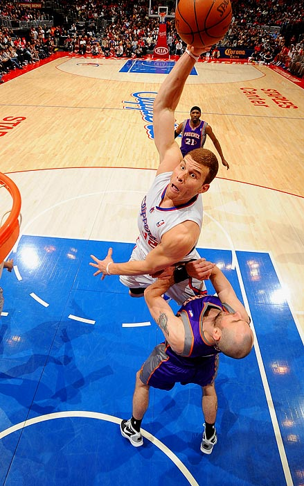 Even Blake Griffin is shocked at how high he gets during this dunk attempt against Marcin Gortat and the Phoenix Suns on March 20.