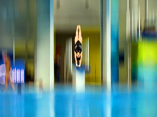 China's Chen Ruolin dives during a training session at the FINA diving World Series in Beijing, China on March 26.