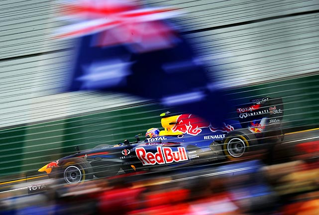 Australia's Mark Webber races around the track during a practice session prior to qualifying for the Australian Formula 1 Grand Prix in Melbourne, Australia.