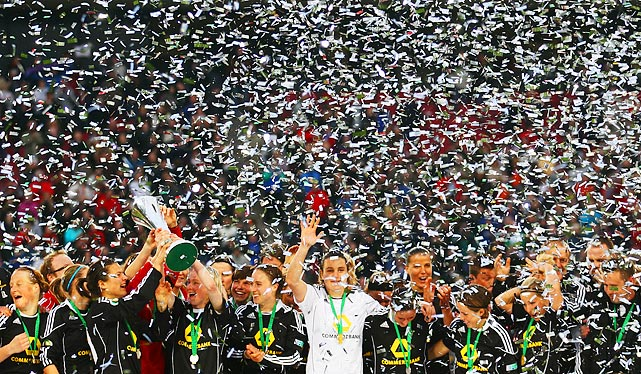 1. FFC Frankfurt celebrates amid confetti after winning the DFB women's Cup final match over Turbine Potsdam on March 26.