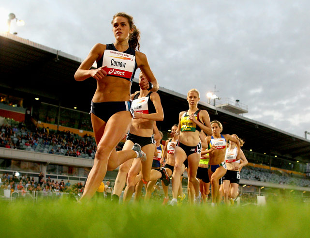 Eliza Curnow of VIC leads the pack in the 1,500 meters at Melbourne Olympic Park on March 3.