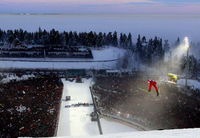 An unidentified competitor takes off during the men's world ski jumping competition on March 3 in Oslo.