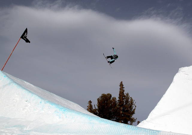 Jamie Anderson competes in the ladies slopestyle final during the Sprint U.S. Snowboarding Grand Prix on March 4 in Mammoth Lakes, Calif.