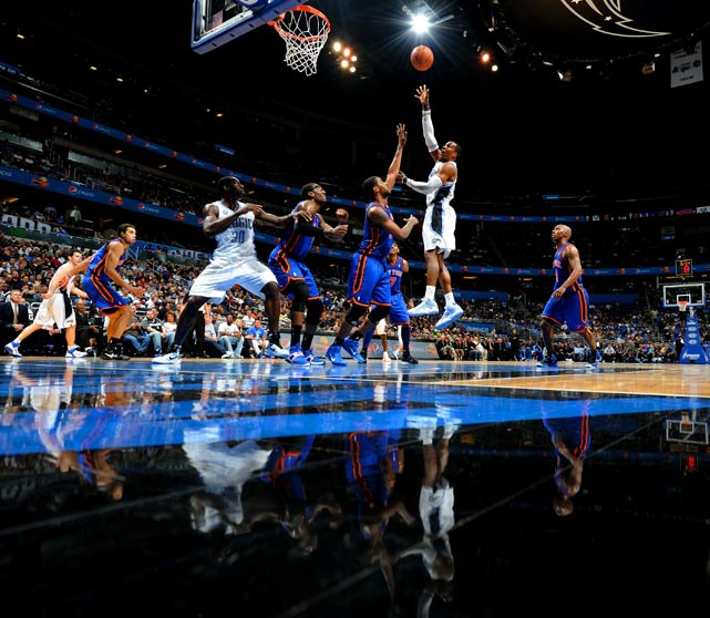 Orlando's Dwight Howard shoots during a 116-110 win over the New York Knicks on March 1 at the Amway Center in Orlando.