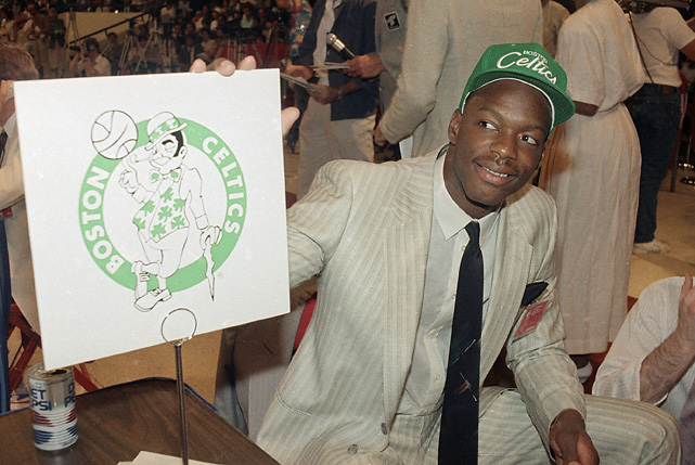 Bias dons a Celtics cap on June 17, 1986, the night he was drafted. The Maryland star never had the chance to wear a green and white jersey as he was pronounced dead nearly 48 hours after the draft. Bias was allegedly celebrating with former college friends in a Maryland dormitory when he stopped breathing after a cocaine overdose.