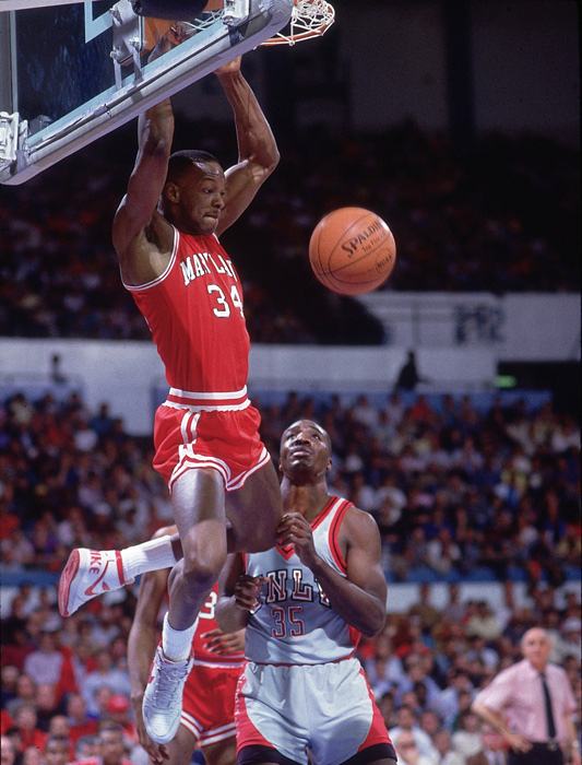 Bias throws down a two-handed flush against UNLV in the 1986 NCAA tournament. Bias and Maryland were a five-seed but lost to UNLV in the second round of the tourney.