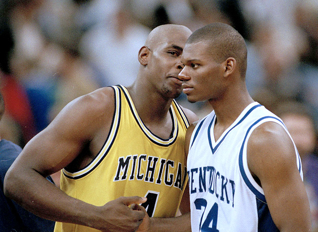After breezing through to the Sweet 16, Michigan knocked off George Washington and Temple to advance to the Final Four. The Wolverines faced off against Jamal Mashburn (pictured) and Kentucky, who took the game to overtime before Webber and the Fab Five prevailed, 81-78.