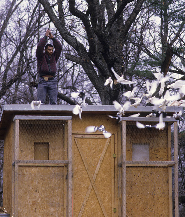 Casual portrait of Tyson outside of his pigeon coop at the home of his surrogate mother Camille Ewald in upstate New York.