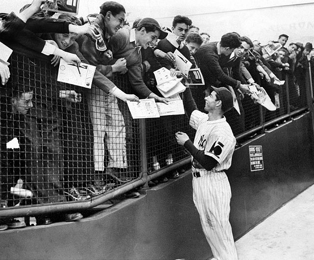 DiMaggio greets the fans and signs autographs in the spring of 1938.
