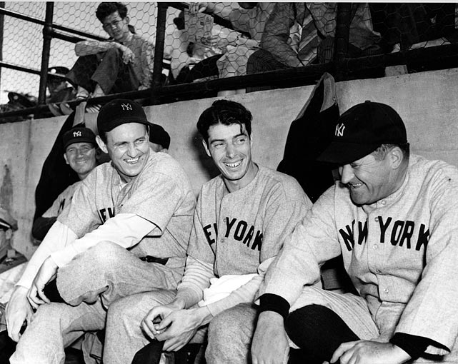 New York Yankees Lefty Gomez, Joe DiMaggio and manager Joe McCarthy in San Antonio for a game with the San Antonio Missions.