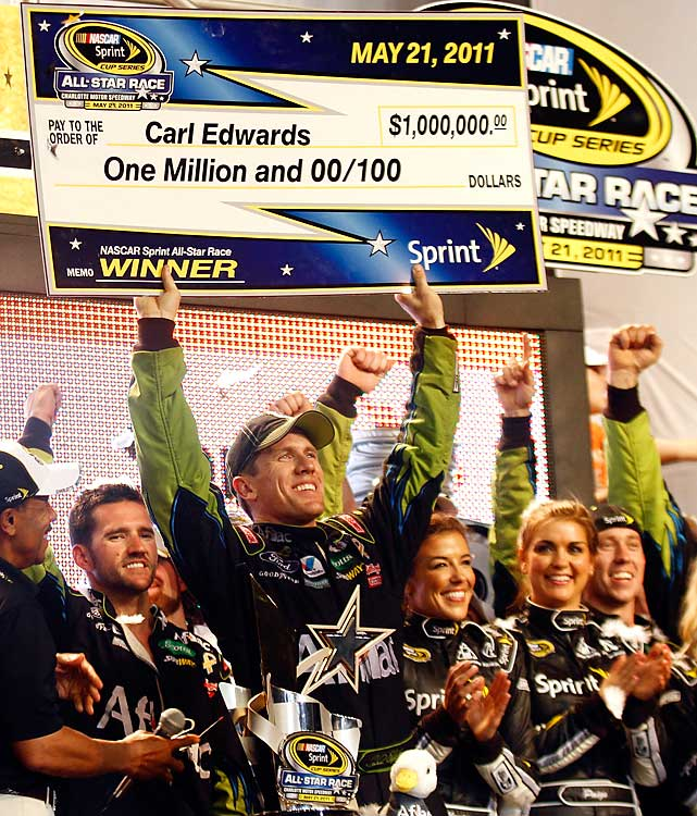 Edwards took all the drama out of the dash for the cash, winning three out of four segments and beating Kyle Busch to the finish line. It marked the first All-Star Race victory for Edwards, who celebrated not only with his patented back flip, but also with a sprint into the stands.