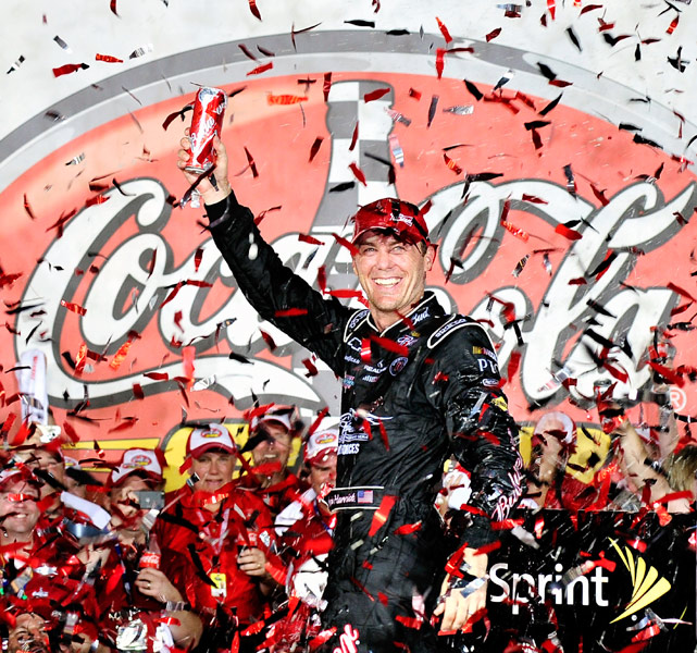 With Dale Earnhardt Jr. running out of gas with just a half-lap remaining, Kevin Harvick cruised to victory at the Coca-Cola 600. In NASCAR's longest race of the season, Harvick passed Junior on the final lap, giving him the win and extending Earnhardt Jr.'s winless streak to 105.