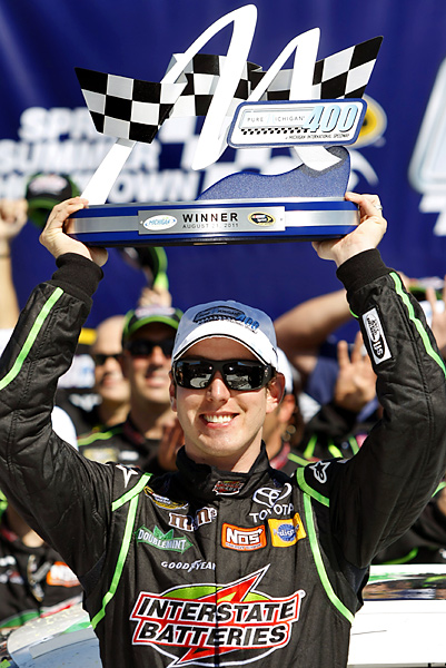 Kyle Busch has won his fourth NASCAR Sprint Cup race of the year, outlasting Jimmie Johnson in a green-white-checkered finish at Michigan International Speedway. Brad Keselowski finished third, his third consecutive top-three finish and fifth top-10 in his last six races. It was the 23rd Sprint Cup win of Busch's career -- and first at Michigan.