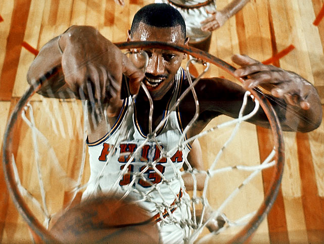"The man who once scored 100 points in an NBA game and averaged 50 points for a season intimidated even the greatest at Rucker, including Connie Hawkins. ""[Wilt] dunked it every way you could go,"" Hawkins said. ""In the school yards, they have the baskets with no nets on them. And one time, he dunked the ball so hard, the ball went through the basket, hit the ground and it went over the 15-foot fence. Somebody went to go get the ball and when they brought the ball back, the basket was still shaking. That's how strong this guy was. He was just a dominating guy."""