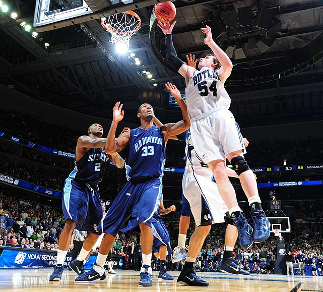 Matt Howard's shot off the glass just before the buzzer gave Butler a victory over Old Dominion.