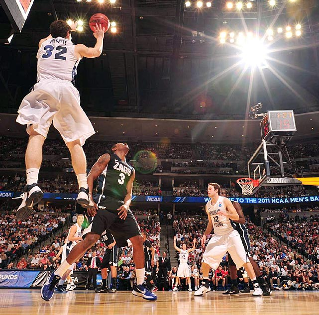 BYU's Jimmer Fredette made seven three-pointers as BYU advanced to the Sweet 16 for the first time since 1981.