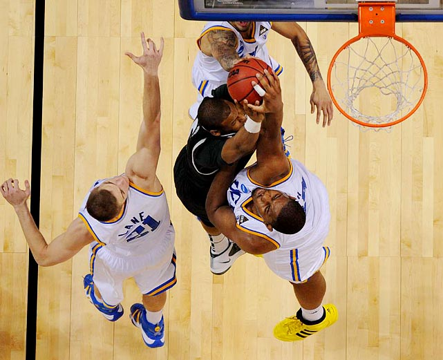 UCLA let a 23-point second-half lead dwindle by missing its free throws but held on against a team hoping to make its third consecutive Final Four.