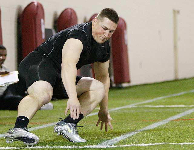 Collin Mooney participates in a shuttle drill at Oklahoma's pro day. Mooney played collegiately at Army, where he set the school's single-season record by running for 1,339 yards in 2008. He spent the past two years fulfilling military obligations and is now entering the draft.