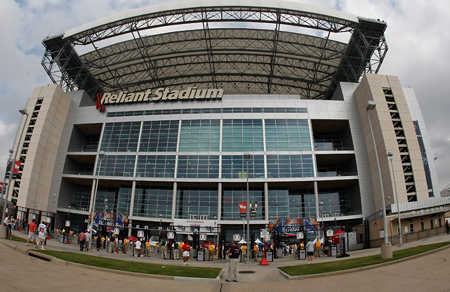 As more and more teams build new stadiums (the most recent being the New Meadowlands Stadium in 2010, Cowboys Stadium in 2009, and Lucas Oil Stadium in 2008), corporations will pay big to have their name attached to the venue. Teams can collect as much as $25 million to $30 million for stadium naming rights, usually on 10-year deals.   Experts say huge pacts may be the way of the past, and have lost their efficacy for the paying corporation, but at least one exception exists in LA: Farmers Insurance has promised to pay $700 million over 30 years to name an L.A. stadium for a team that doesn't exist yet.  Reliant Energy pays $10 million per year for stadium naming rights with the Texans (pictured).