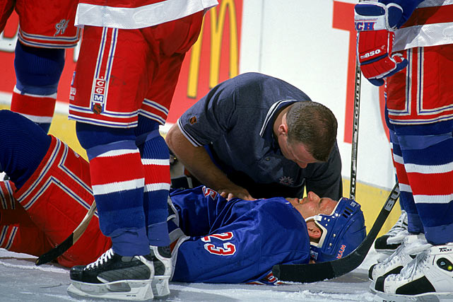 The 6-5, 230-pound, hard-hitting defenseman who played 13 seasons for the Oilers and Rangers, winning four Stanley Cups, suffered more than six concussions, including one when he was sucker-punched from behind by Matt Johnson of the Kings in November 1998. (Johnson was suspended 12 games for the hit.) Three months later, Beukeboom was concussed again by a seemingly minor hit in a game against Carolina. The injury left him with headaches and trouble concentrating. He never played again.