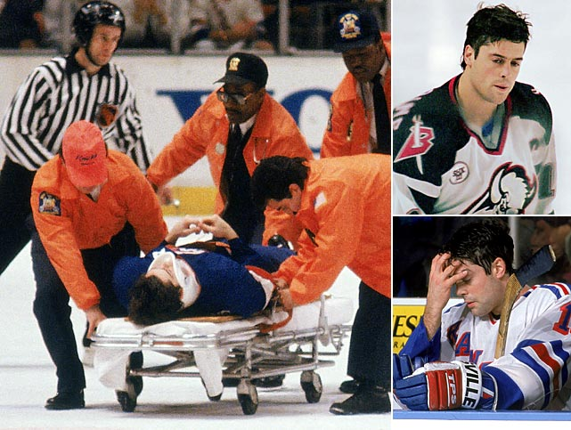 "The center's Hall of Fame career was ended by the effects of six concussions sustained during his 15 seasons in the NHL. The first occurred as an Islander in a 1990 playoff game when he was knocked unconscious by a hit from the Rangers' James Patrick, the last when he collided with  Mike Keane in March 1998. He also missed almost the entire 1996-97 season after hitting his head on the ice and being knocked out by a hard check from Francois Leroux of the Penguins. LaFontaine, who scored 468 career goals, was only 33 when he played his last NHL game. ""A neurologist at the Mayo Clinic asked me, 'Did it feel like someone came along and ripped all the motivation and personality out of you?' That was exactly what happened to me,"" LaFontaine told  The Sporting News . ""I remember being scared because for the first month after my fifth concussion, I was very depressed at times. I wouldn't want to come out of my room. My wife was really scared because the littlest things would set me off."""