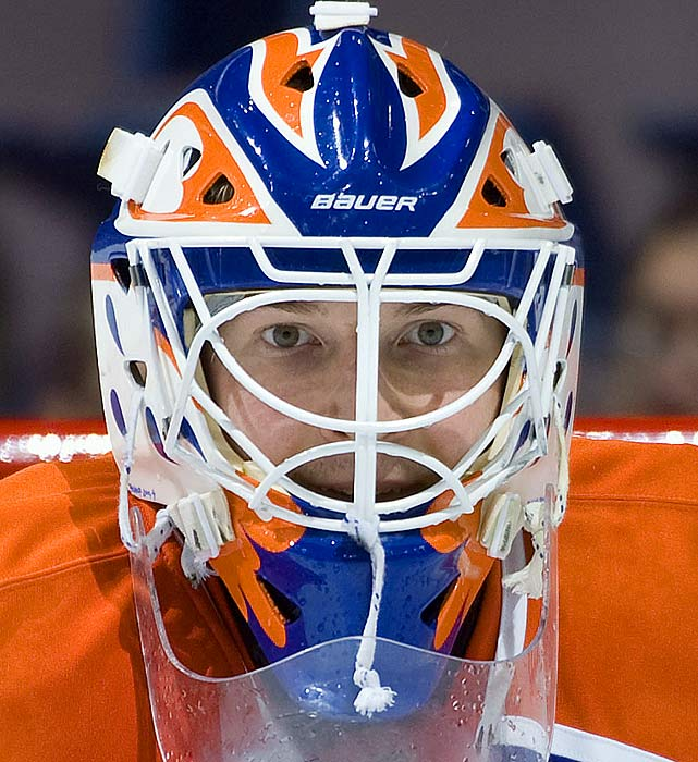 With Nik Khabibulin already honoring Grant Fuhr, Dubnyk decided that his own alternate helmet should acknowledge Bill Ranford, Edmonton's last Stanley Cup netminder, with a replica of his mask design. Ranford also won the Conn Smythe Trophy in 1990 as MVP of the playoffs.