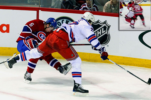 "In an incident that many observers pointed to as evidence of the NHL's indulgence of dangerous hits, 6'-7"" Rangers center Brian Boyle was not penalized or disciplined for delivering from behind an elbow to the head of Canadiens defenseman Jaroslav Spacek. Three days later, Devils defenseman Anton Volchenkov was given a minor penalty and then a three-game suspension for his elbow to the head of Hurricanes forward Zach Boychuk (inset), who was not hurt and stayed in the game."