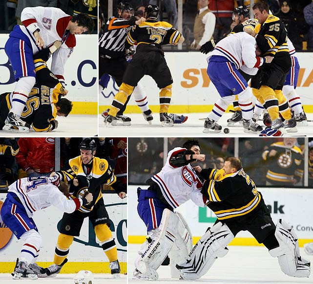 The two bitter Original Six rivals squared off in a game that produced 182 penalty minutes, 12 fighting majors, and four misconducts. Even goalies Tim Thomas of the Bruins and Carey Price of the Canadiens got in on the action. One of the more arresting sights was the beat-down of Montreal's Tom Pyatt by Bruins forward Gregory Campbell, the son of NHL discipline czar Colin Campbell, who has been in the awkward position of having to recuse himself from all decisions involving Boston.