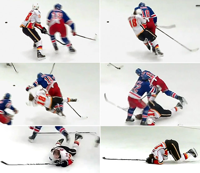 "Rangers defenseman Staal leveled the Flames forward with a questionable shoulder to the head that left the Flames forward dazed on the ice and out of the game. No penalty was called and the league did not impose supplementary discipline. ""I bent my knees, my elbows didn't come up,"" Staal said. ""I stayed low. I caught most of it on my side more than anything else."" Stajan soon returned to action with the Flames."