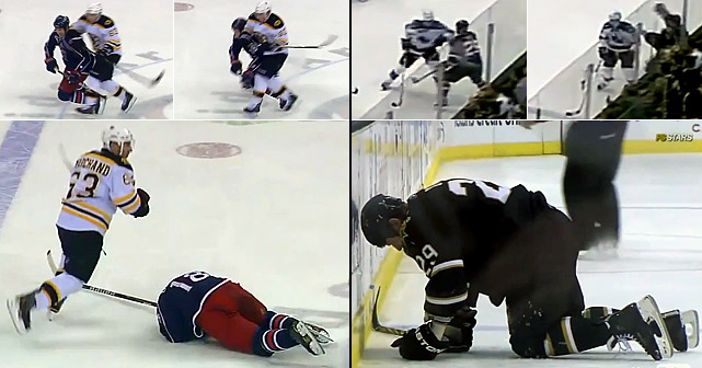 "While NHL GMs were meeting and debating rules changes to stem headshots and the growing carnage, Brad Marchand of the Bruins laid an unpenalized elbow to the head of the Blue Jackets' R.J. Umberger, but received a two-game ban without pay. That same night, Dany Heatley of the Sharks delivered an elbow to the head of the Stars' Steve Ott that drew a minor penalty for interference and a two-game suspension without pay. ""Protect the guys,"" Ott, who was uninjured, said after the game. ""We're going to have guys that are going to be icing heads now. You only have one brain, so let's honestly start figuring something out."""