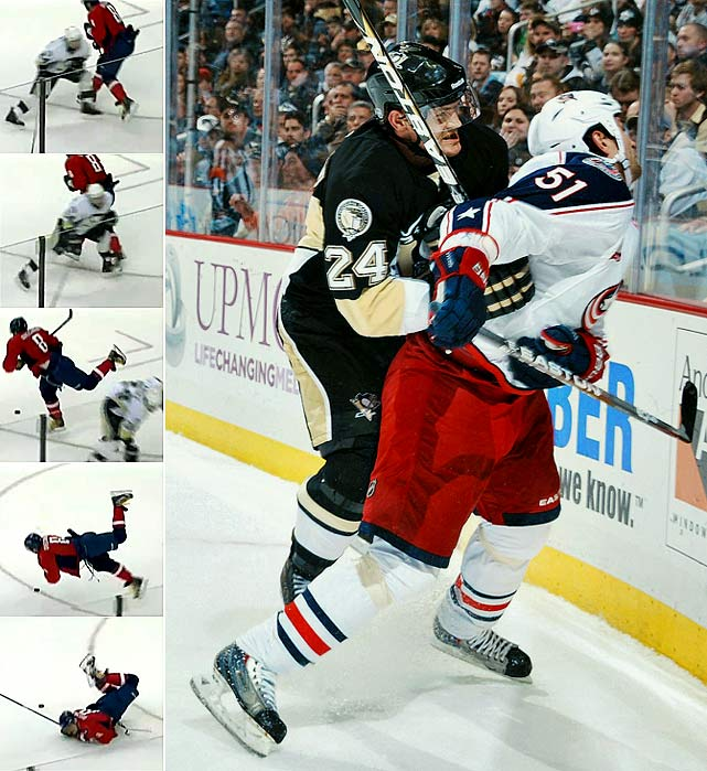 Cooke was again in the spotlight after delivering a dangerous knee-on-knee hit to Capitals superstar Alex Ovechkin (left) during a nationally televised game. After being warned by the NHL, he earned a four-game suspension two days later by viciously boarding Blue Jackets defenseman Fedor Tyutin.