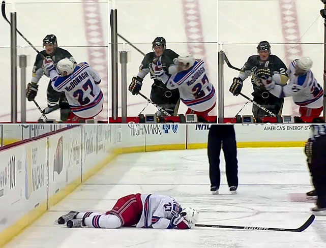 In the third period of a game in Pittsburgh, Cooke delivered an elbow to the head of Rangers defenseman Ryan McDonagh and was ejected, further embellishing his reputation as the NHL's dirtiest player. (Cooke's hit on Boston's Marc Savard in March 2010 led the NHL to adopt Rule 48 banning lateral and blindside blows to the head). The McDonagh shot was Cooke's third such incident of the season and it came in the wake of GM meetings at which tougher penalties for headshots were proposed. Cooke also put his own team's owner, Mario Lemieux, in an embarrassing position after Lemieux had called for stiff fines for teams and suspensions for coaches. It was Cooke's third such incident of the season, and he was promptly summoned to a meeting in Toronto with NHL discipline czar Colin Campbell. With four previous suspensions on his record, Cooke was banned for the rest of the regular season and the first round of the playoffs, without pay.