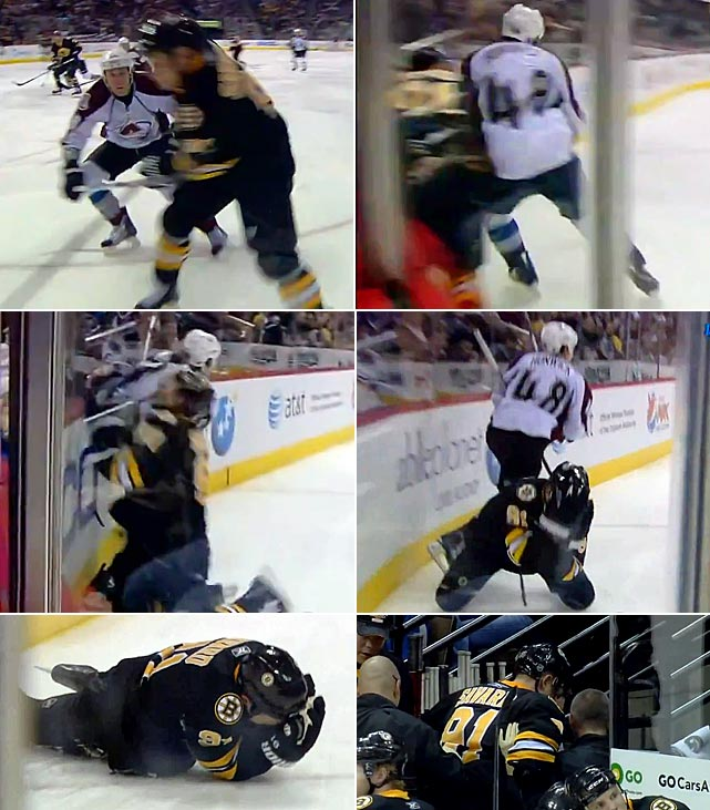 "Colorado defenseman Matt Hunwick devastated his former Bruins teammate with a legal hit that sent Savard into the glass, leaving him writhing and dazed. Savard, who had returned from a long recovery from a concussion suffered in March 2010, was again sidelined indefinitely, his career now in question. ""He feels terrible, but that one wasn't his fault at all,"" Savard said. ""I was skating fast for once it felt like, and he just finished his check."""