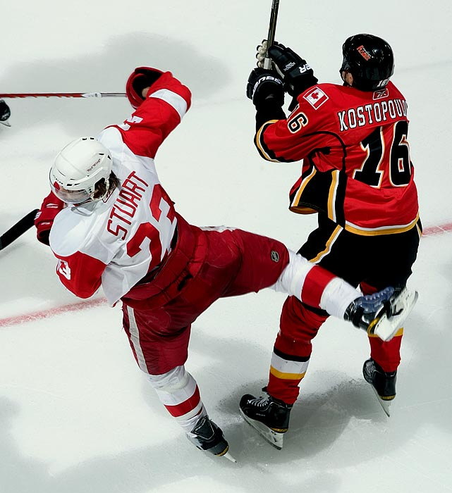 "The Calgary Flames forward was suspended six games for breaking the jaw of Red Wings defenseman Brad Stuart, who was not in possession of the puck. ""Kostopoulos delivered a blow to the head of an unsuspecting and vulnerable player,"" NHL discipline czar Colin Campbell said in a statement. ""As well, he targeted the head of his opponent and, while the hit was not from the blindside, the head was the principle point of contact."" Kostopoulous had also concussed Minnesota's Nick Schultz with an elbow in December."
