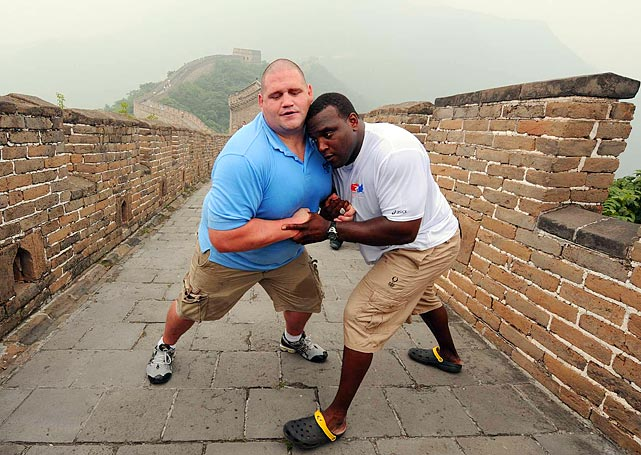 Gardner messes around with fellow U.S. wrestler Dremiel Byers atop the Great Wall of China before the start of the Beijing Games.