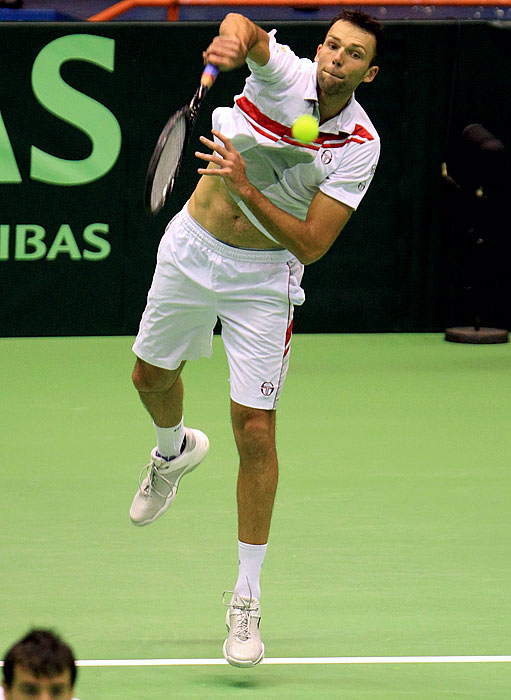 "Croatia's 6' 10"" Ivo Karlovic, ranked No. 239 at the time, struck a 156 mph serve in the fourth set of a doubles match against Germany in the 2011 Davis Cup, breaking Andy Roddick's previous record by one mph."