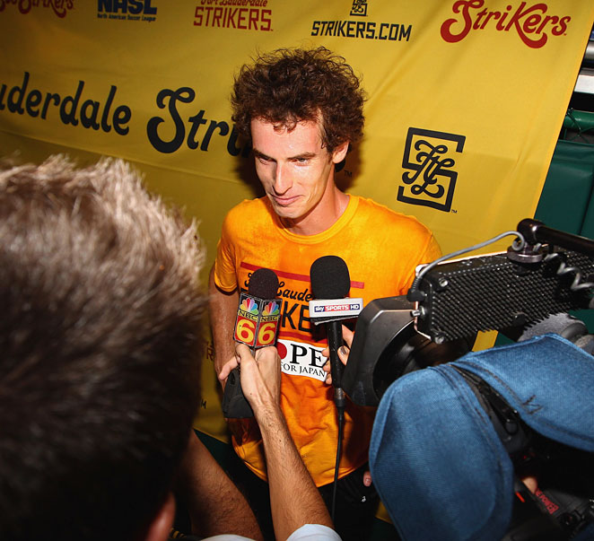 Murray, currently No. 5 in the ATP World Tour rankings, meets with the press after the match.