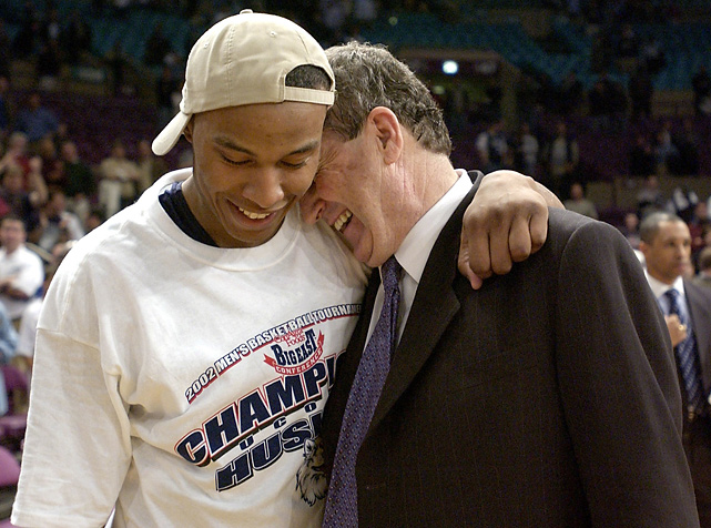 Big East Tournament MVP Caron Butler with Jim Calhoun after the Huskies won the tournament.
