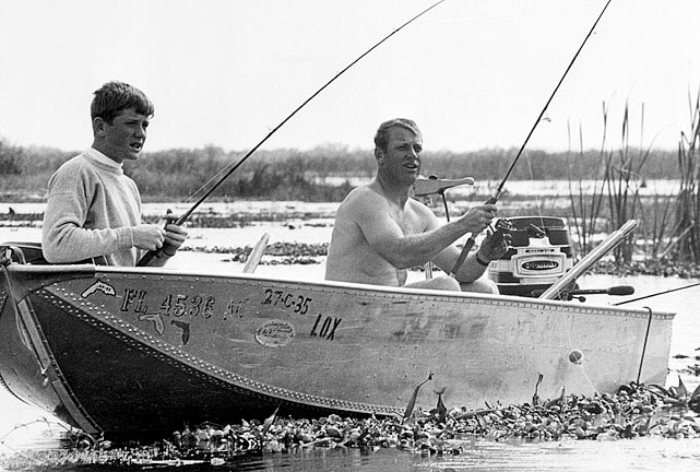 The Yankees slugger fishes in Florida with his son, Mickey Jr., in February 1968. Mantle was entering the final season of his baseball career, where the former slugger would hit a career-worst .237 with 18 home runs.
