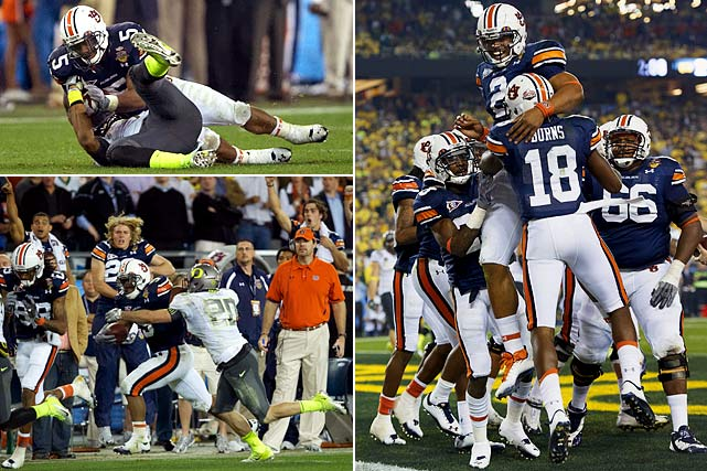 Michael Dyer (left) stopped for a moment, unsure whether or not he had been ruled down. No whistle sounded and Auburn's freshman running back rolled off Oregon safety Eddie Pleasant and started running again. He gained 30 additional yards and set up a game-winning field goal, giving a 22-19 victory to the No. 1 Tigers.