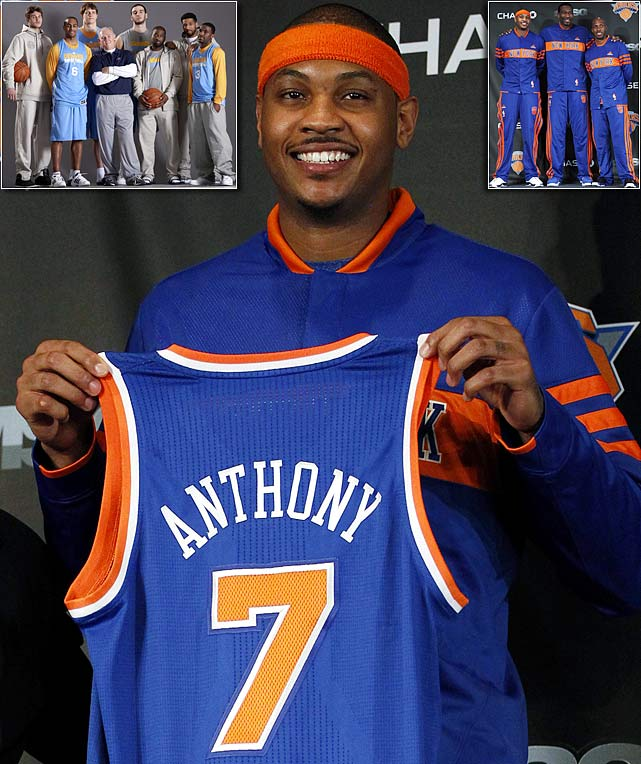 The on-again, off-again saga came to an end with Anthony getting his wish: a three-year, $65 million contract extension and the bright lights of Madison Square Garden. The Knicks sent Wilson Chandler, Raymond Felton, Danilo Gallinari, Timofey Mozgov, draft picks and cash to Denver for Anthony, Chauncey Billups and others. New York lost 13 of its first 20 games after acquiring Anthony, but the team came together for a seven-game winning streak and earned the No. 6 seed in the playoffs. Anthony averaged 26.3 points in his 27 games with the Knicks.