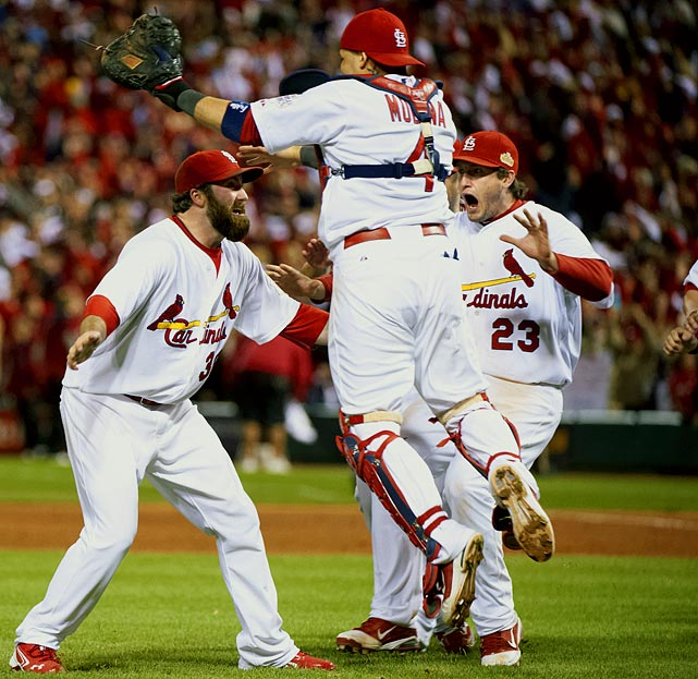 After being down to their last strike in the bottom of the ninth in an elimination Game 6, the Cardinals rallied to defeat the Texas Rangers in extra innings. St. Louis would go on to win the series in seven games. David Freese, who hit the game-tying double and game-winning homer in Game 6, was the World Series MVP.