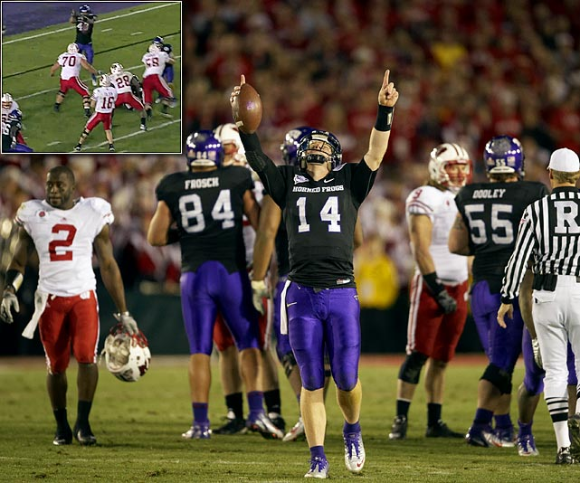 "The undefeated Horned Frogs were the first Mountain West team to play in the ""The Granddaddy of Them All,"" and they withstood 226 rushing yards from Wisconsin in a 21-19 victory. After Wisconsin's Montee Ball scored on a four-yard run to close the gap to two with two minutes remaining, TCU's Tank Carder deflected Scott Tolzien's pass on the potential game-tying conversion attempt (inset).   What moment in U.S. sports would you add to the list? Send comments to siwriters@simail.com."