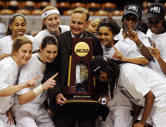 "Associate head coach Vic Schaefer (middle), nicknamed the ""Secretary of Defense,"" has spent 14 seasons working under Blair, dating back to their time at Arkansas. Blair turned over control of his defense to Schaefer, and the unit was crucial to this year's championship run. In the tournament, the Aggies held opponents to 51 points per game."