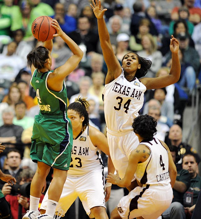 Notre Dame star Skylar Diggins takes a contested shot attempt. Coming off a 28-point effort in the semifinal upset of Connecticut, Diggins scored 23 against Texas A&M. But the Aggies' pesky defense held her to just 7-for-19 shooting.