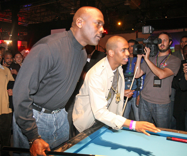 Paul and His Airness shot some pool at Zo & Magic's 8-Ball Challenge during All-Star Weekend in 2008.