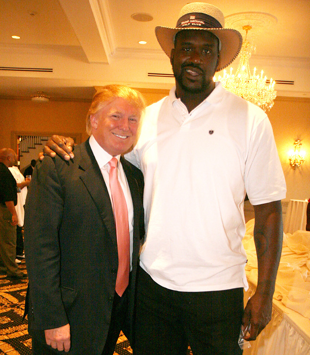 Trump and Shaquille O'Neal at Zo's Million Dollar Shootout Golf Tournament at Briarcliff Manor in 2007. The pair co-hosted the charity event with Alonzo Mourning, and proceeds went to Mourning's foundation for underserved youth.