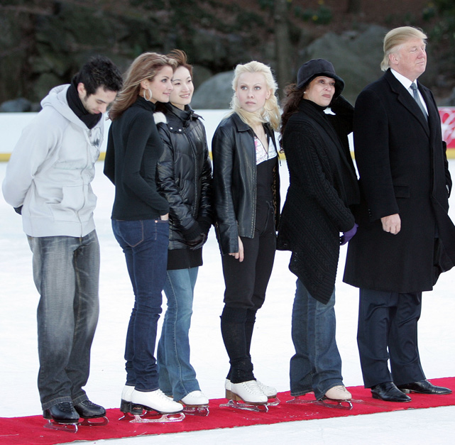 Trump joins figure skaters Tanith Belbin, Benjamin Agosto, Shizuka Arakawa and Oksana Baiul at a benefit for the Figure Skating in Harlem program in Central Park.