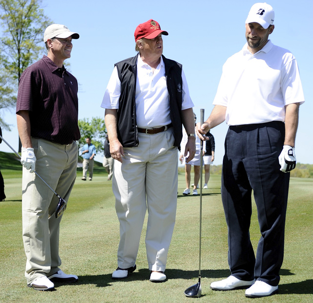 Former Braves pitchers Tom Glavine and John Smoltz chat with Trump during a taping of  Trump's Fabulous World of Golf  at Trump National Golf Club in April 2010 in Bedminster, N.J. The show, which runs on the golf channel, gives a behind-the-scenes look at Trump's courses.