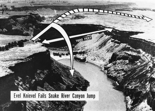 "Knievel's most extravagant idea was to jump over the one-mile Snake River Canyon in southern Idaho. Since a motorcycle can't stay airborne that long, Knievel used a contraption known as the ""Sky-Cycle"" -- a bucket seat attached to a steam-powered thrust engine. As this diagram indicates, the daredevil was supposed to jump the 1,600 feet from one end to the other."